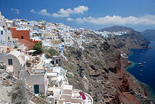 Santorini in Greece (Attribution: Wikipedia)